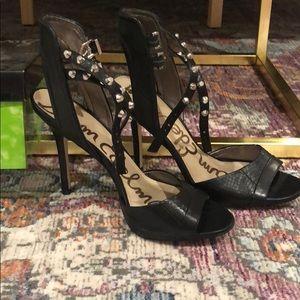 Sam Edelman, Black leather heeled sandal size 9
